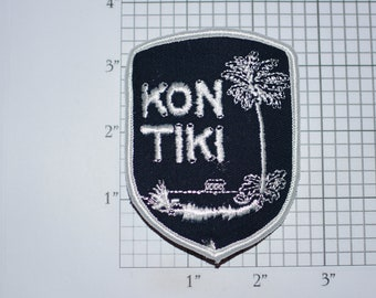 Kon Tiki Iron-On Vintage Embroidered Travel Patch Emblem Badge, Trip Souvenir Gift Idea Collectible Vacation Holiday Paradise Crest Logo