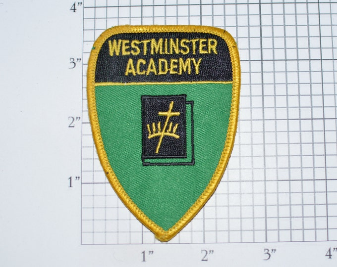 Westminster Academy Sew-on Vintage Embroidered Clothing Patch Collectible for Jacket Shirt Vest Backpack Keepsake Memento Alumni Jesuit e33h