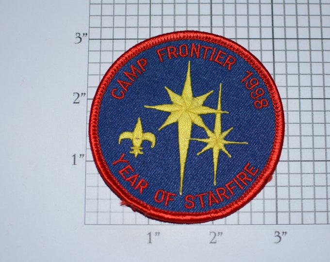 Camp Frontier 1998 Year of Starfire Boy Scouts of America BSA Vintage Embroidered Uniform Patch Memento Emblem Badge Collectible Keepsake