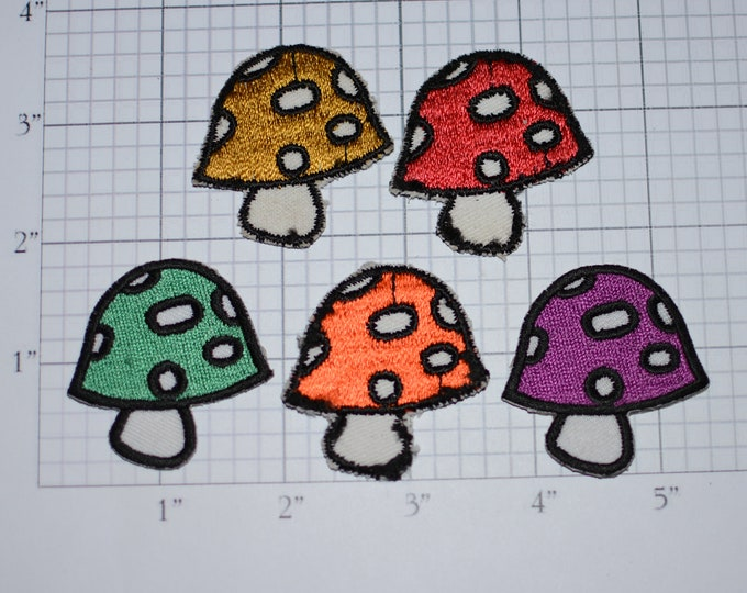 Colorful Mushroom Toadstool Iron-on Patches Small Appliqué Red Orange Green Yellow Purple for Jeans Jacket Backpack Cute DIY Fashion Logo
