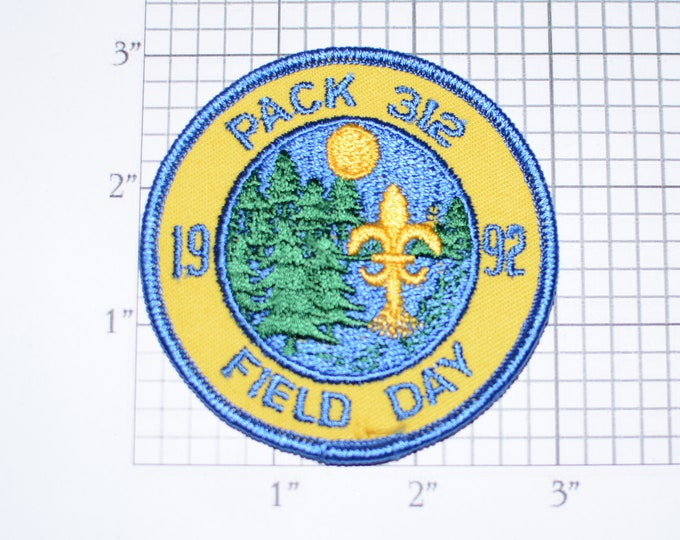 Pack 312 1992 Field Day Iron-On Vintage Embroidered Clothing Patch Scout Uniform BSA Emblem Logo Badge Collectible Memento Keepsake Insignia