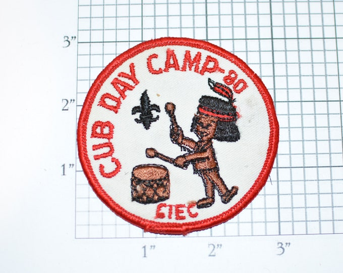 Cub Day Camp 1980 California Inland Empire Council CIEC BSA Sew-On Vintage Embroidered Clothing Patch Uniform Shirt Jacket Scouting Badge