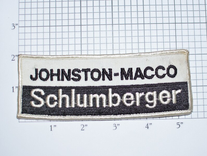 Johnston - Macco Schlumberger RARE Embroidered Sew-on Clothing Patch  Souvenir Collectible Memorabilia Logo Uniform Workshirt Emblem e33D