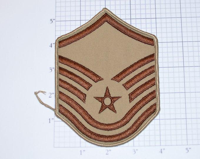MINT Vintage Air Force Master Sergeant E-7 Rank Tan Insignia Emblem Crest Sew-on Embroidered Uniform Patch Military Vet Veteran Keepsake