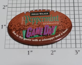 Hiram Walker Original Peppermint Schnapps Game Day Football RARE Vintage Pinback Button Alcohol Advertising Collectible Memorabilia