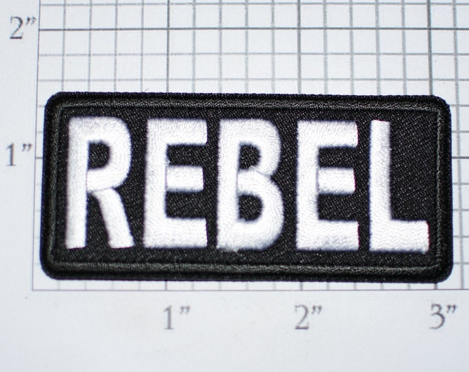 REBEL Text Iron-On Embroidered Clothing Patch Funny Biker Jacket Vest MC Motorcycle Rider Sassy Troublemaker Novelty Badge Emblem Outlaw 1%