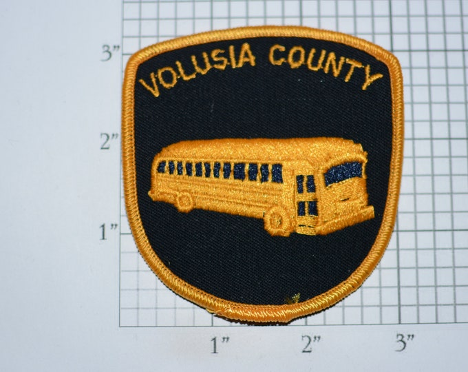 Volusia County (Florida FL Daytona Beach) Yellow Bus Vintage Iron-on Embroidered Clothing Patch for Driver Employee Uniform Shirt Jacket