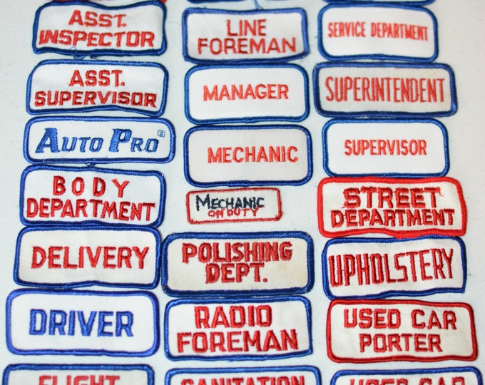Shop Work Shirt Vintage Job Patches, Service Department Manager Boss Foreman Delivery Upholstery Porter Inspector Delivery Driver & More f1