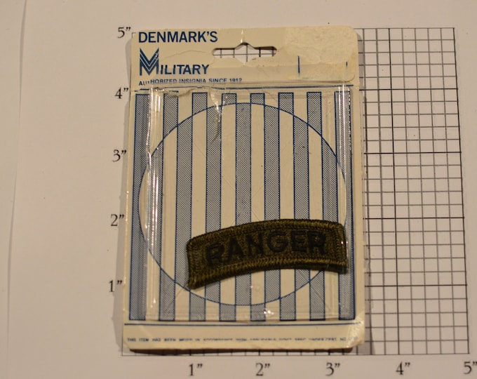 """RANGER Subdued """"Denmark's Military"""" Rocker Tab Insignia Vintage (1977) Embroidered Clothing Patch for Uniform Jacket Cosplay Collectible"""