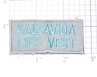 Salvavida Life Vest Sew-On Vintage Embroidered Text Patch Airplane Boating Flotation Swimming Pool Lifeguard Beach DIY Craft Project Emblem