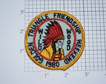 Golden Triangle Friendship Weekend Wild Wood 1980 BSA Sew-On Vintage Embroidered Clothing Patch Uniform Shirt Boy Cub Badge Collectible Logo