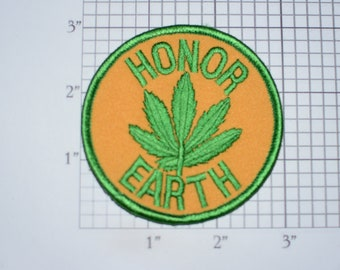 Honor Earth - Iron-On Vintage Embroidered Clothing Patch - Marijuana Leaf Cannabis 420 Hemp Weed Pot *Only 1 in Stock* Nature Hippie Boho