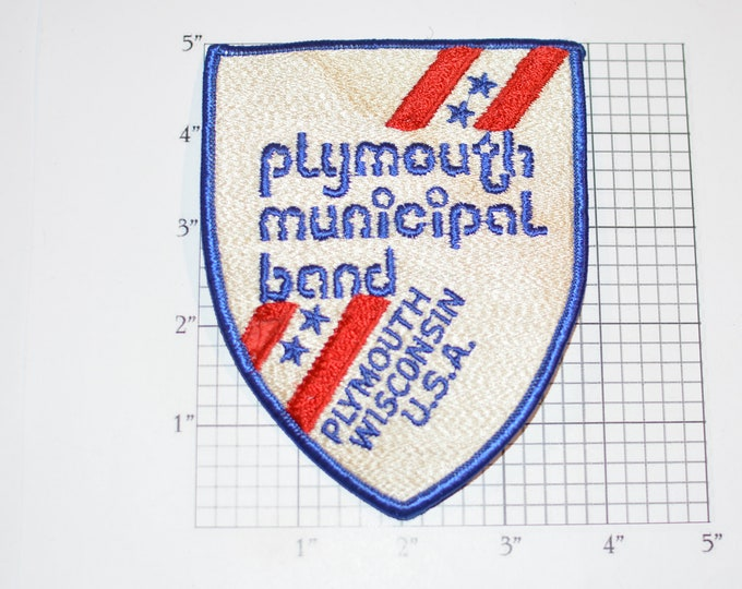 Plymouth Municipal Band (Wisconsin) Rare Iron-On Vintage Embroidered Clothing Patch (Some Staining) Souvenir Music Collectible Memento Crest