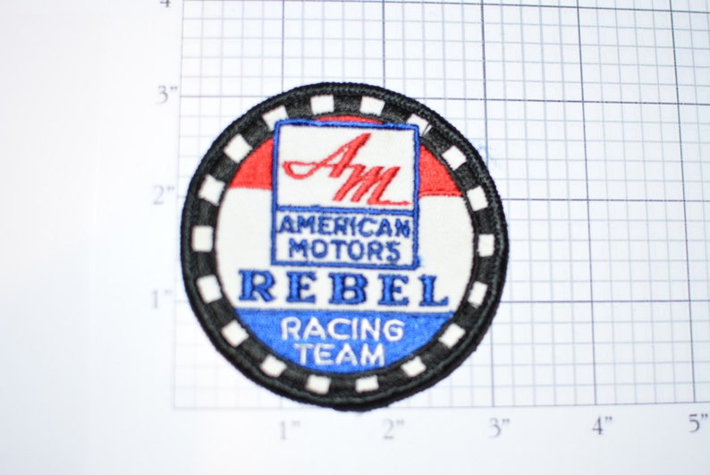 American Motors Company Rebel Racing Team Sew-On Authentic Vintage Patch  AMC Javelin Checkered Flag Factory Emblem Insignia Fun Cool s2