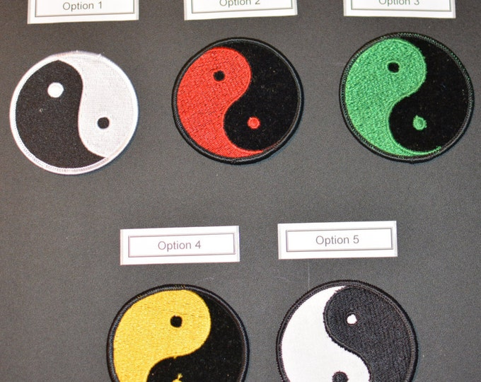 Yin & Yang Vintage Iron-on Embroidered Clothing Patch, Yin Yang Applique Many Color Options Asian Yoga Meditation Martial Arts Harmony