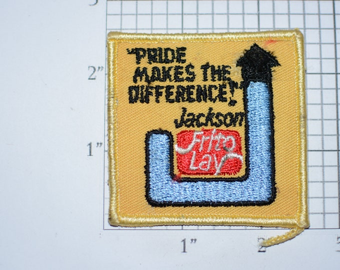"""Frito Lay """"Pride Makes The Difference"""" Jackson (Some Wear/Distress) Vintage Iron-on Embroidered Patch for Uniform Work Shirt Jacket Vest Hat"""