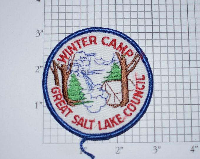 Winter Camp Great Salt Lake Council Sew-On Vintage Embroidered Clothing Patch Boy Cub Scout Uniform BSA Badge Keepsake Collectible City Utah