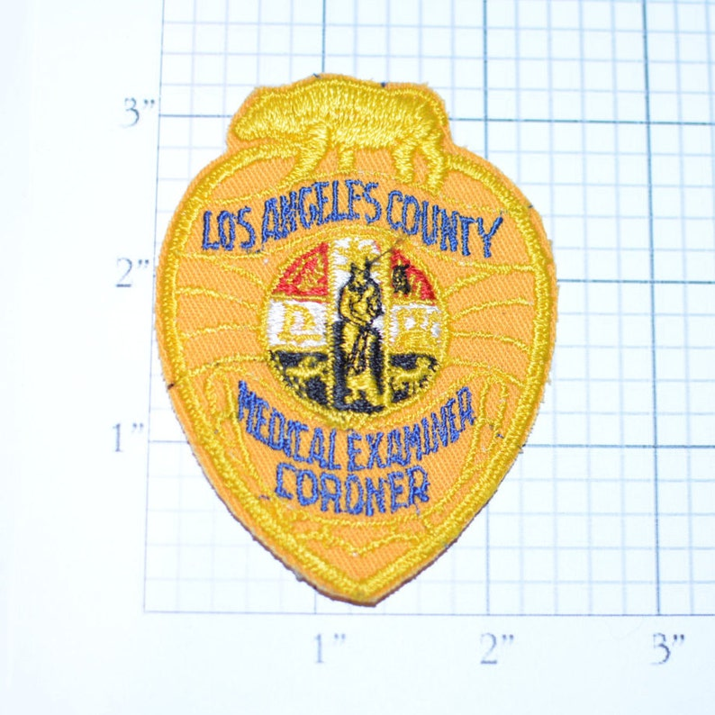 Los Angeles County Medical Examiner Coroner California CA RARE Embroidered Sew-On Vintage Patch Uniform Patch Collectible Jacket Patch d10b