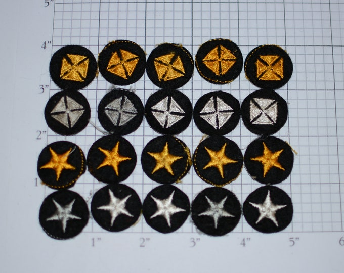 Gold & Silver Star and Cross Lot (20 Pieces) Sew-On Vintage Embroidered Patches Small Appliques DIY Clothes Craft Project Award Recognition
