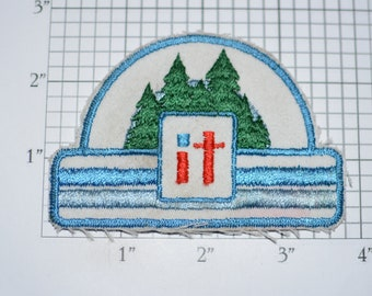 It (Evergreen Forest) Sew-On Vintage Embroidered Clothing Patch (Dingy / Worn) Insignia Emblem Logo Keepsake Memento Pine Trees