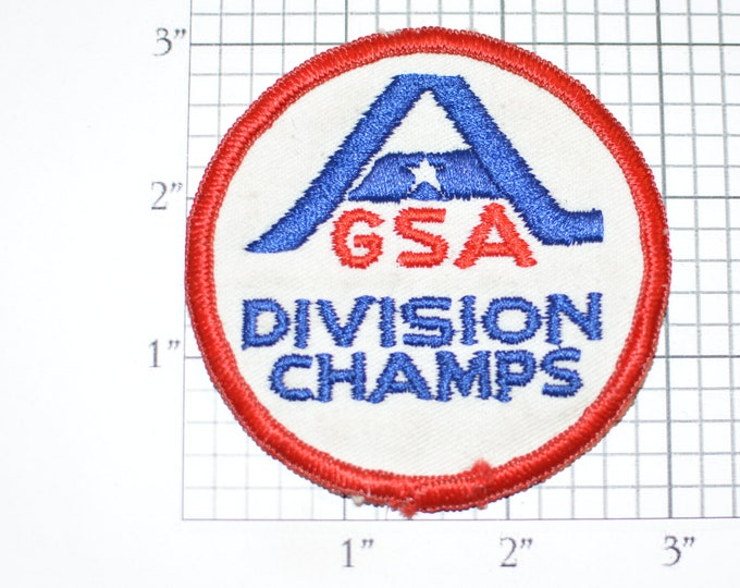 AGSA Division Champs VINTAGE Sew-On Embroidered Clothing Patch Girl Softball League Uniform Shirt Jersey Jacket Logo Sport Parks Rec Crest