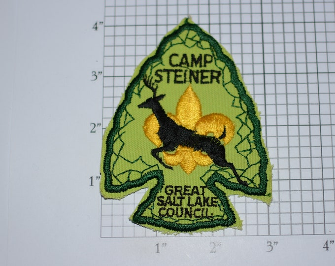 Camp Steiner Great Salt Lake Council Utah Arrowhead Deer Emblem Badge Logo BSA Sew-On Vintage Embroidered Patch Uniform Shirt Vest Scouting