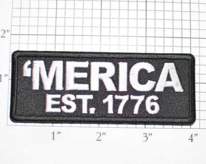 Merica Established 1776 Iron-on Embroidered Clothing Patch Biker Jacket Vest MC Military Veteran USA Independence Patriotic Text Emblem Logo