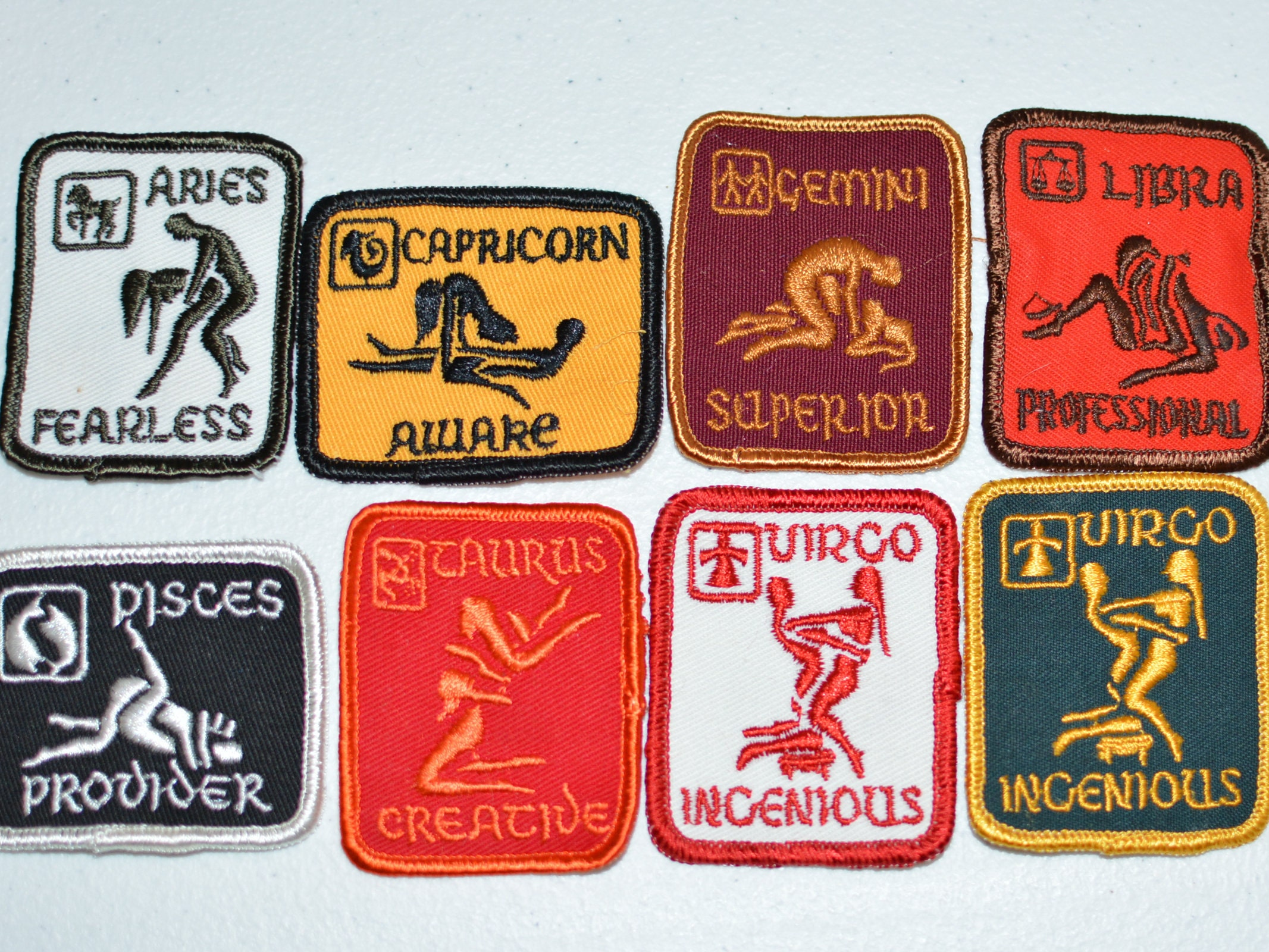 Sexual Position Zodiac Astrology Vintage Sew-On Embroidered Patch Aries Capricorn -4046
