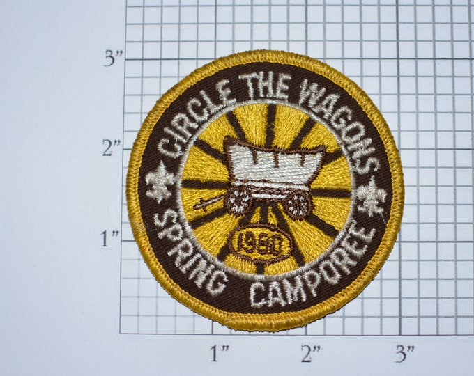 Circle The Wagons Spring Camporee 1980 Sew-On Vintage Embroidered Clothing Patch Boy Cub Scout Uniform BSA Badge Keepsake Collectible Emblem