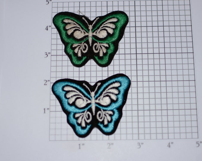 Butterfly Iron-On Embroidered Clothing Patch (Lot 2 Pieces) Cool Fun Nature Beautiful Accessory for Jacket Shirt Hat DIY Clothes Accent