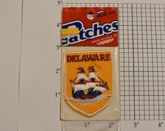 Delaware (Voyager Badge Sealed Pkg) Vintage Iron-on Embroidered Travel Patch Souvenir Collectible Gift Trip Scrapbook Keepsake Ship Emblem