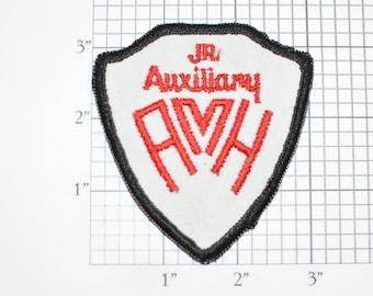 Jr (Junior) Auxiliary AMH Volunteer Sew-On Vintage Embroidered Clothing Patch Insignia Emblem Logo Keepsake Memento