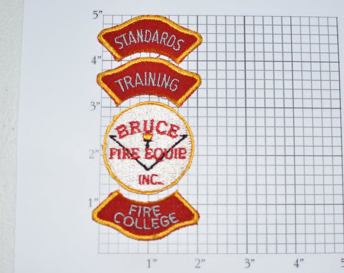 Bruce Fire Equipment Inc (4 Piece Lot) Standards- Fire College- Training Rockers- Iron-On Embroidered Vintage Patches Collectible e32g