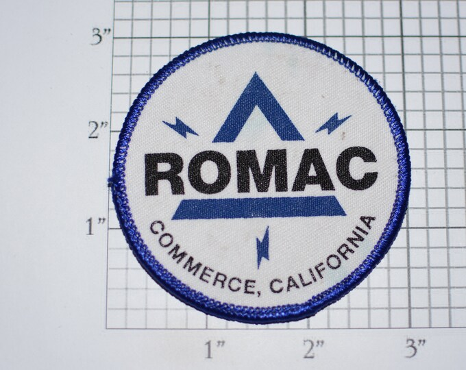 Romac (Industrial Supply) Commerce California (Slightly Dingy) Vintage Clothing Patch for Employee Uniform Shirt Vest Logo