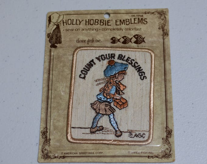 Count Your Blessings, AGC Holly Hobbie Emblems Sew-On Vintage Embroidered Patch Rare American Greetings DIY Clothing 1970's Sealed e19u