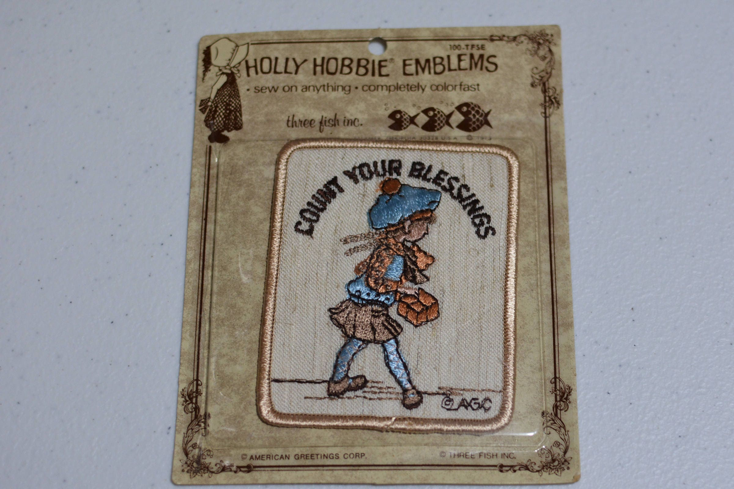 Count your blessings agc holly hobbie emblems sew on vintage count your blessings agc holly hobbie emblems sew on vintage embroidered patch rare american greetings diy clothing 1970s sealed e19u m4hsunfo