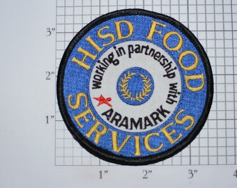 HISD Food Services ARAMARK Ultra Rare Vintage Iron-On Uniform Clothing Patch for Employee Worker Emblem Logo Insignia Collectible Keepsake