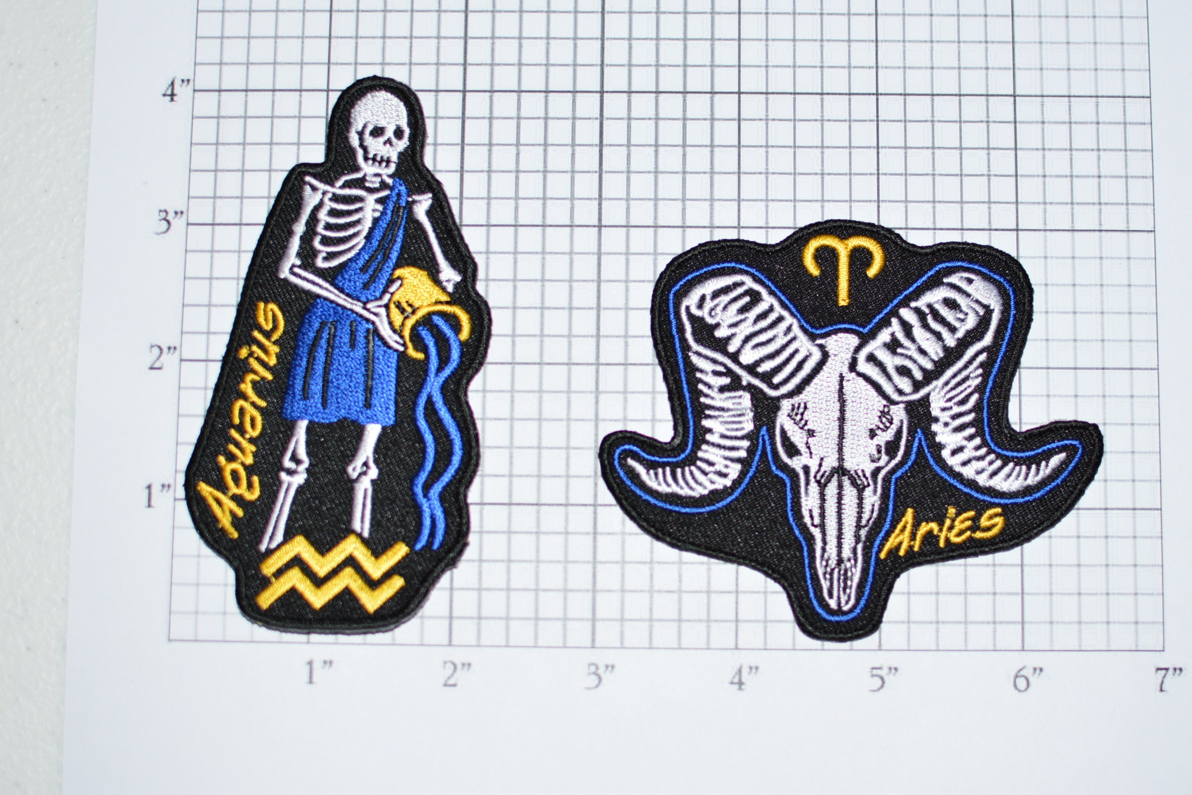 Skeleton Astrology Zodiac Birth Sign Iron-on Embroidered