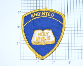 Anointed Holy Bible Iron-on Vintage Embroidered Clothing Patch, Soldiers of Cross Christ Church Religion Collectible Christianity Faith Logo