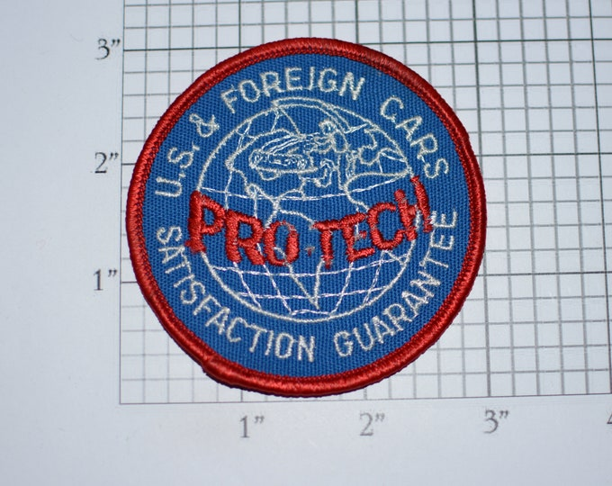 Pro Tech US & Foreign Cars Satisfaction Guaranteed Vintage Iron-on Embroidered Patch for Uniform Jacket Vest Hat Auto Repair Garage Mechanic