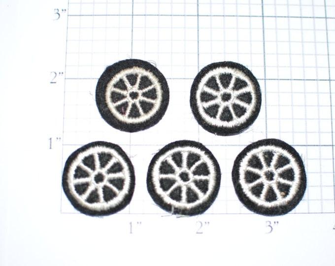 Lot of 5 Wheel Sew-On Vintage Appliqué Patches Jacket Patch Doll Patch Vest Patch Hat Patch Shirt Patch Police Patch Motorcycle Patch ap4