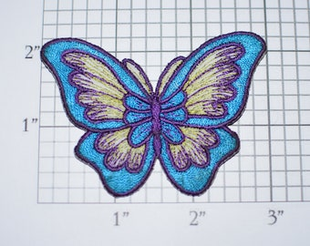 Beautiful Blue Butterfly Iron-On Vtg Embroidered Patch for DIY Craft Idea Clothing Clothes Repair Fashion Accent Cute Decorative Adornment