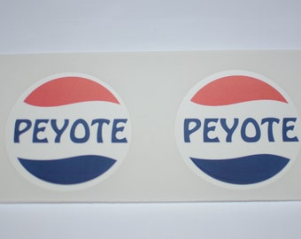 """Peyote 3"""" Diameter Decal Stickers (Set of 2, Weatherproof) for Vehicle Laptop Wall & More - Cactus Psychedelic Fun Cool Hippie Boho Retro"""