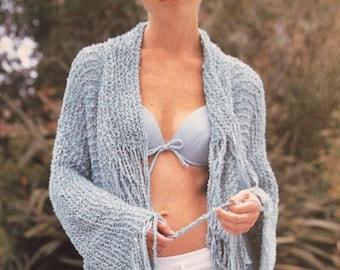 INSTANT DOWNLOAD PDF, Womens Sweater Duster, Knit Coat, Jacket, Light weight Sweater Coat, Digital File Pattern