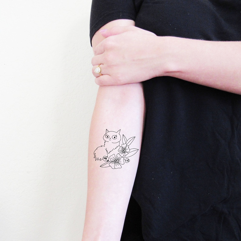 4fff63d68 Kiki's Delivery Service Lily Temporary Tattoo Cats of | Etsy