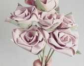 Image of Faux Flowers Bunch of 6 Dusky Pink Fabric Flowers