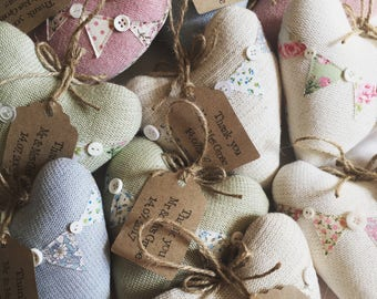 Knitted Heart Wedding Favours with Bunting Detail and Personalised Tags - Set of 10
