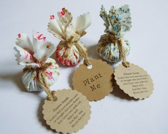 Set of 10 Country Garden Flower Seed Wedding Favours with Hand Stamped Circular Labels