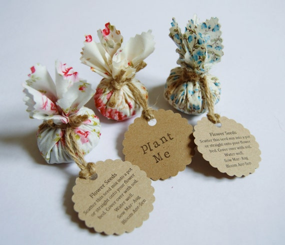 Set Of 10 Country Garden Flower Seed Wedding Favours With