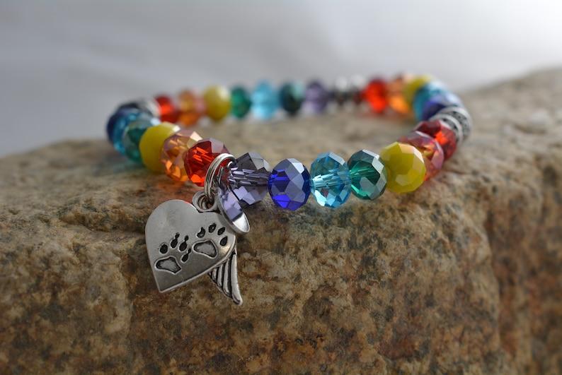 Rainbow Bridge/Pet Loss Hope Angel Bracelet Swarovski Crystal image 0